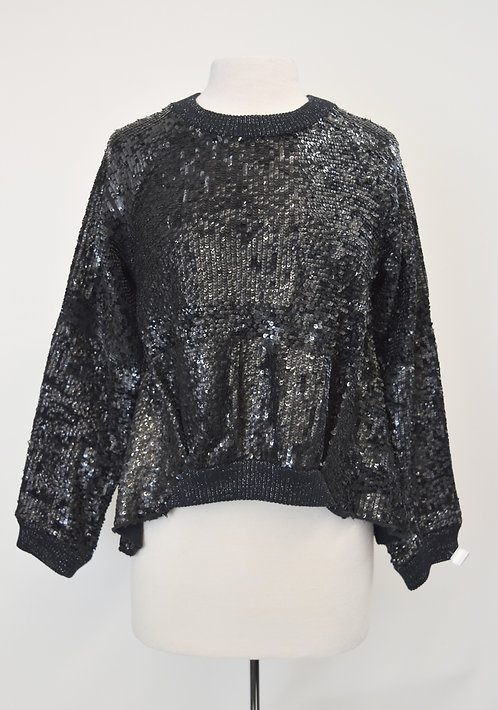 Anthropologie Black Sequin Sweater Size Small