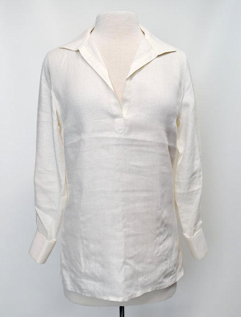 Loro Piana Ivory Linen Blouse Size Medium