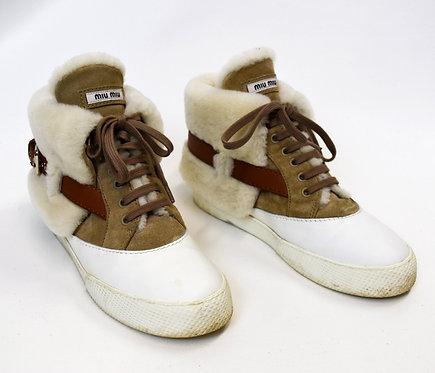 Miu Miu White Shearling High-Top Sneakers Size 9