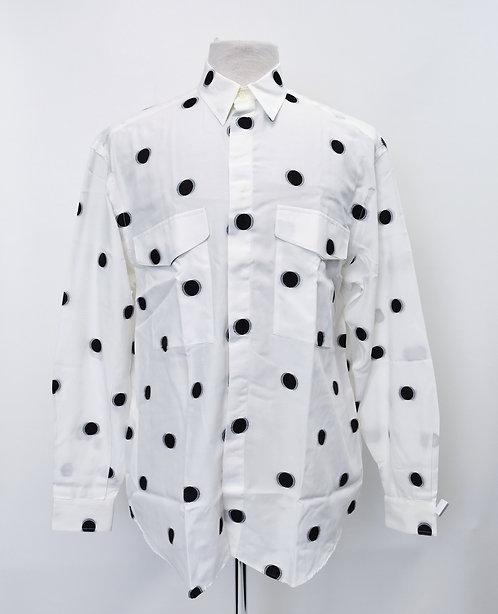 Versace White Polka Dot Shirt Size Medium