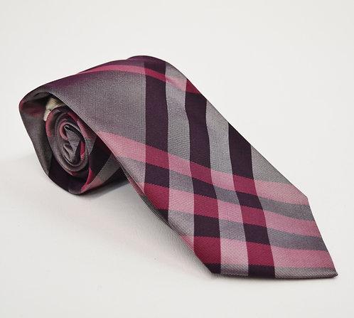 Burberry Purple Plaid Silk Tie