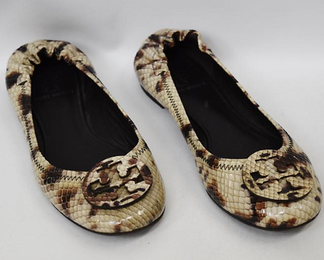 Tory Burch Snake Print Chelsea Flats Size 6.5