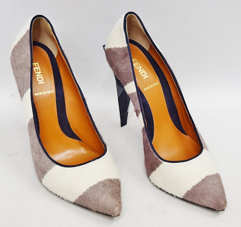 Fendi White & Taupe Cowhide Heels Size 7