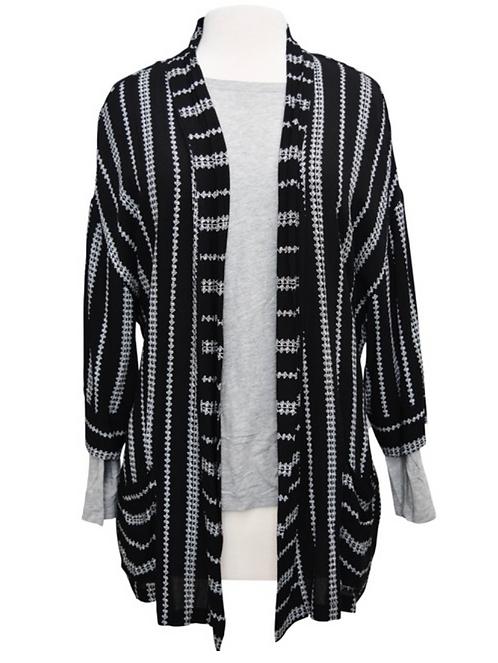 Everly Black & White Print Cardigan Size Large