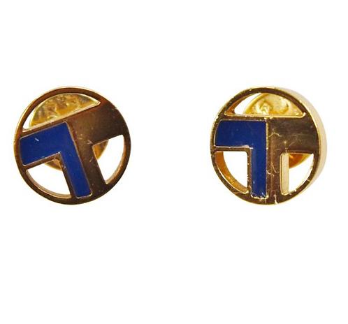 Tory Burch Gold & Navy T Stud Earrings