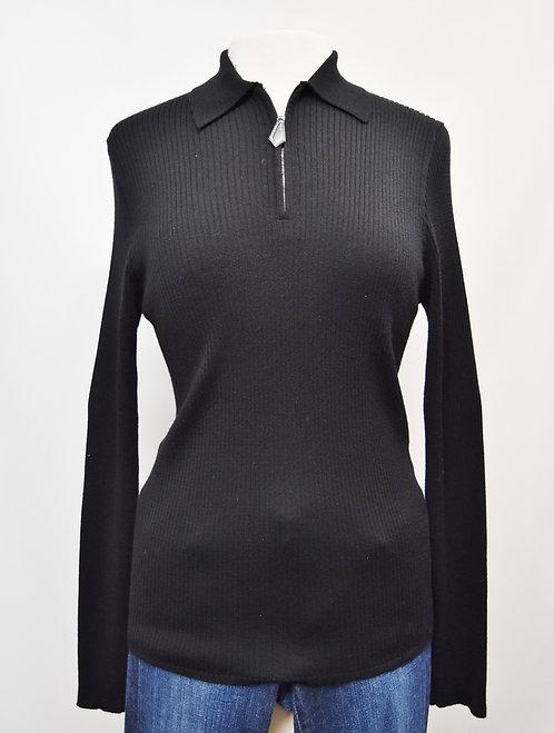 Hermes Black Ribbed Knit Sweater Size Medium