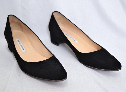 Manolo Blahnik Black Suede Kitten Heels Size 10