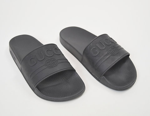 Gucci Black Rubber Slider Sandals Size 8