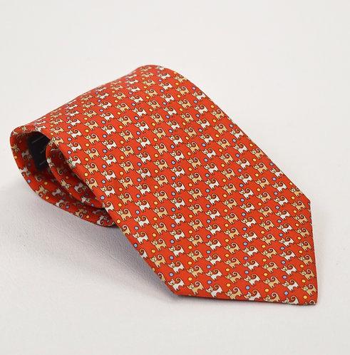 Salvatore Ferragamo Orange Silk Tie