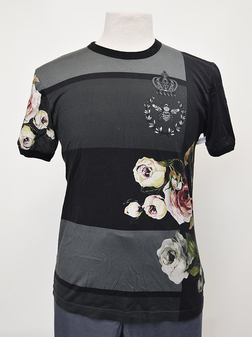 Dolce & Gabbana Black & Gray Floral T-Shirt Size Small