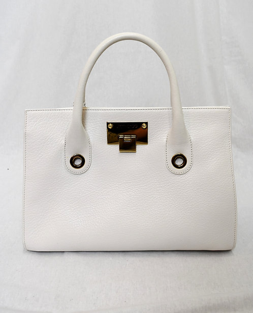 Jimmy Choo White Leather Top-Handle Purse