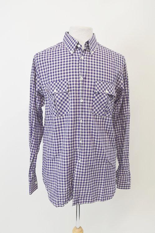 Billy Reid Purple Check Shirt Size Large