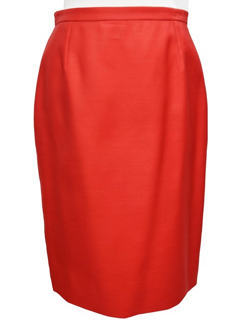 Valentino Red Satin Pencil Skirt Size 10