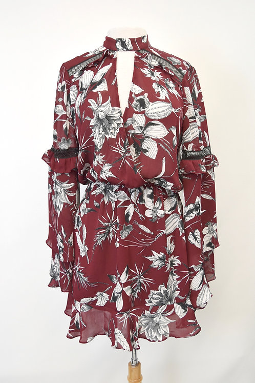 Parker Maroon Floral Dress Size Small