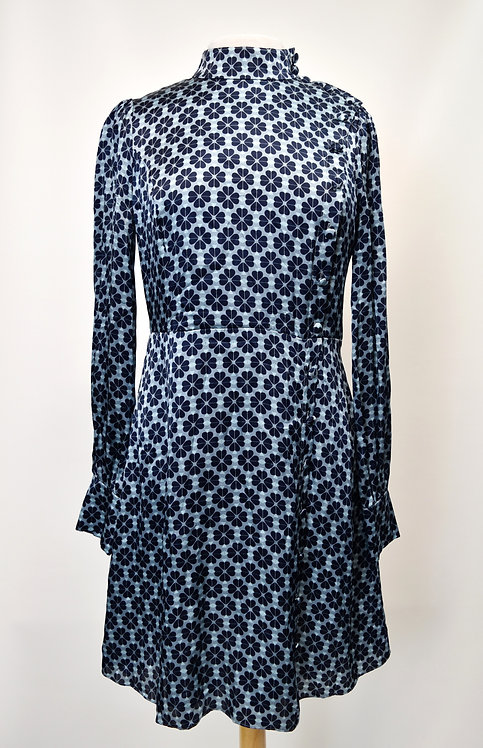 Kate Spade Blue Floral Print Silk Dress Size 8