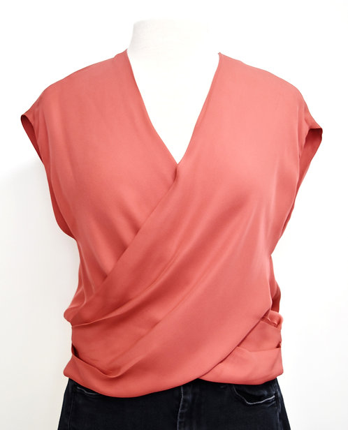 L'Agence Coral Faux-Wrap Silk Top Size Small
