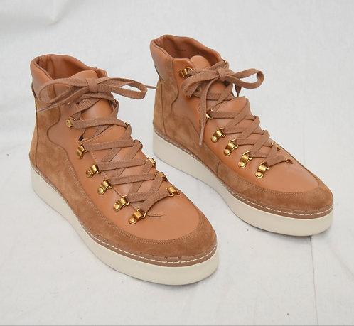 Vince Tan Lace-Up Boots Size 10