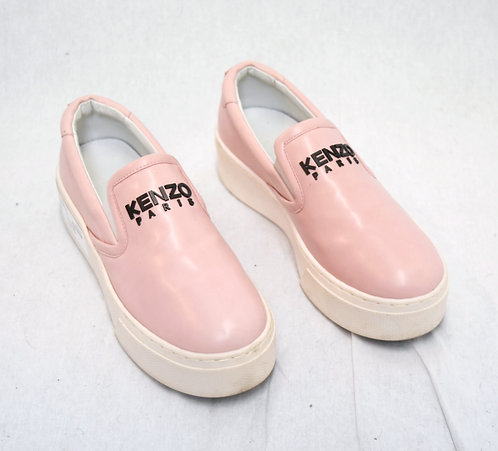 Kenzo Pink Leather Platform Sneakers Size 7