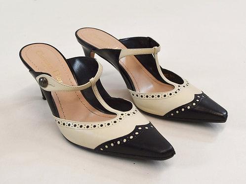 Christian Dior Black & White Leather Kitten Heels Size 6
