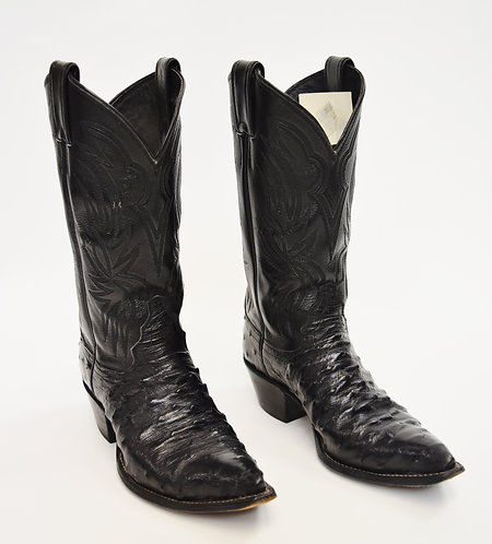 Justin Black Ostrich Leather Cowboy Boots Size 6.5