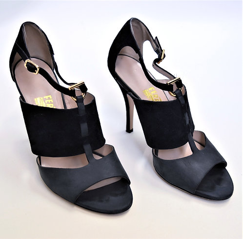 Salvatore Ferragamo Black & Gray Suede Heels Size 8