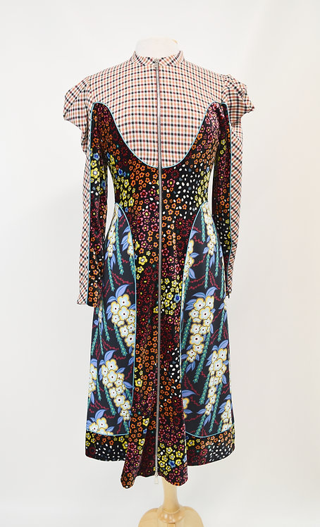 Mary Kantrantzou Multi-Print Dress Size Small (6)