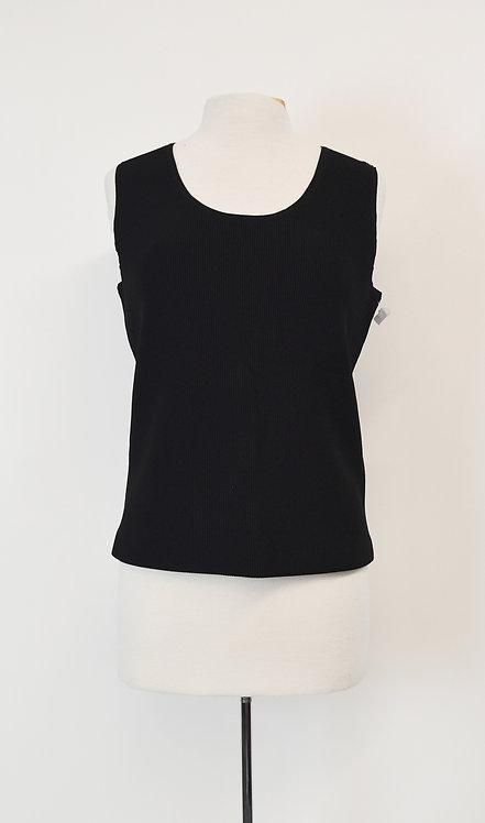 AKRIS Black Ribbed Knit Top Size Large (14)