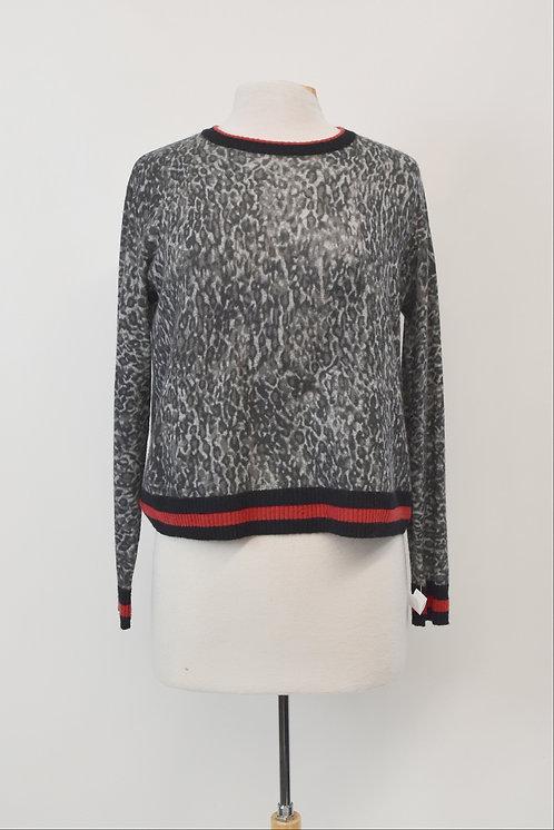 Autumn Cashmere Gray Leopard Sweater Size XS