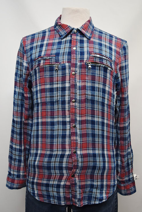 John Varvatos Blue & Purple Plaid Shirt Size Small