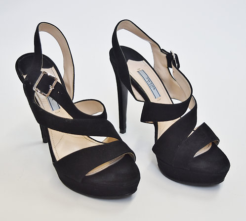 Prada Black Suede Strappy Heels Size 8