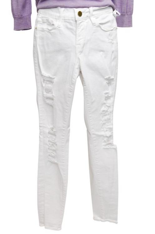 Frame Denim White Distressed Skinny Jeans Size 24