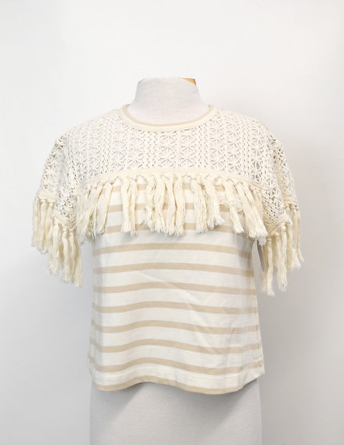 See By Chloe Ivory Stripe Top Size Small