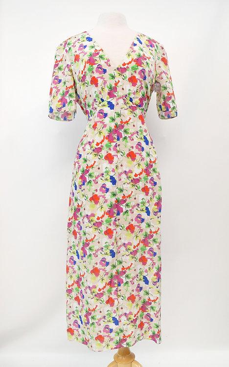 Saloni Floral Print Silk Dress Size Medium (10)
