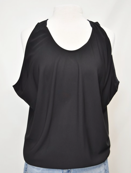 Ramy Brook Black Draped Top Size Small