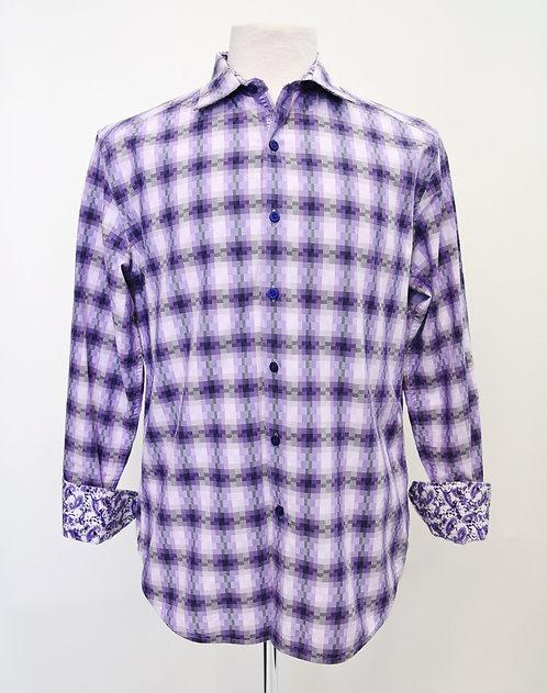 Robert Graham Purple Plaid Shirt Size Medium