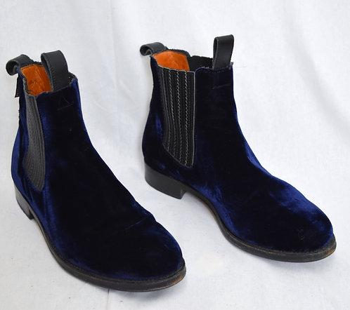 Penelope Chilvers Navy Velvet Boots Size 10