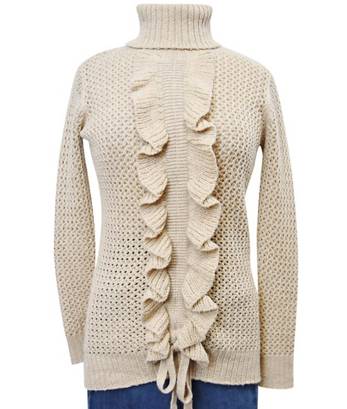 Moschino Tan Metallic Knit Sweater Size Medium