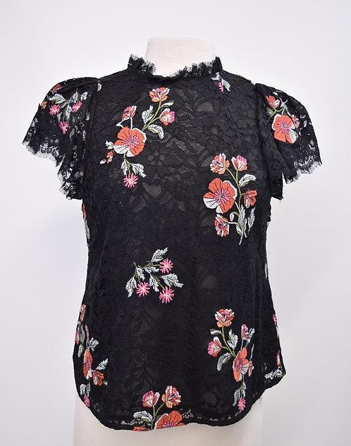 Rebecca Taylor Black Floral Lace Top Size 8