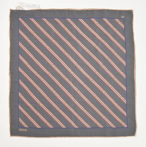 Gucci Gray Stripe Silk Pocket Square