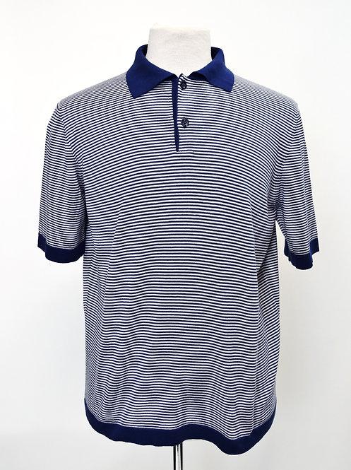 Paul Stuart Navy Stripe Knit Polo Size Large