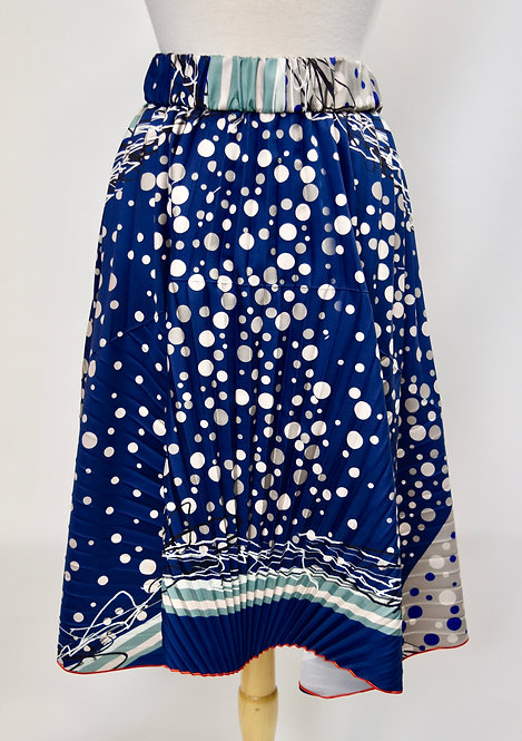 Rohka Blue Print Silk Skirt Size Small