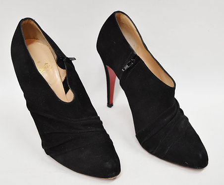 Christian Louboutin Black Suede Booties Size 7.5