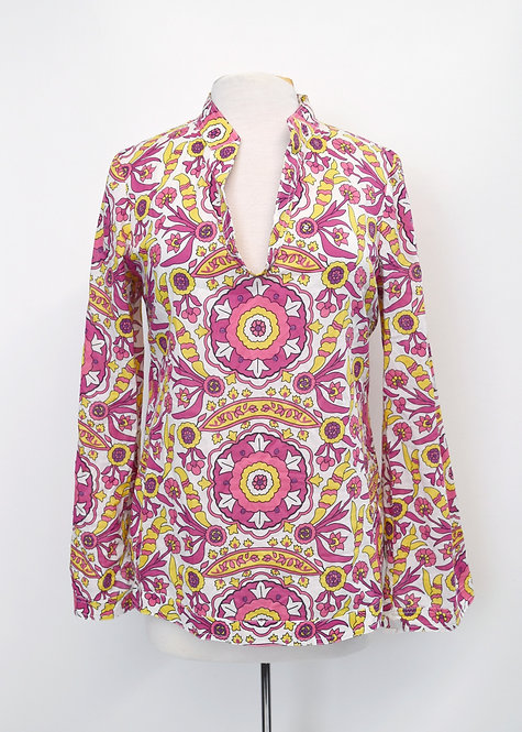 Tory Burch Pink Print Blouse Size Medium (8)