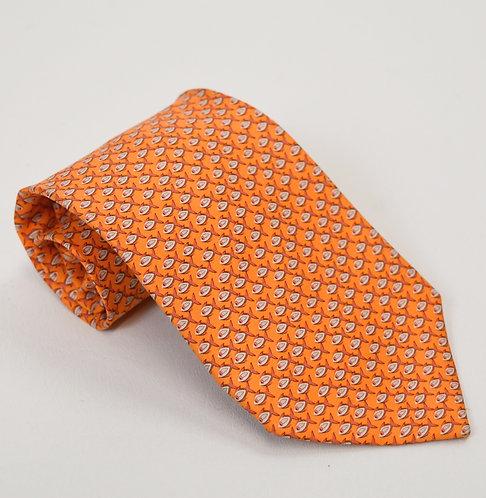 Salvatore Ferragamo Orange Print Silk Tie