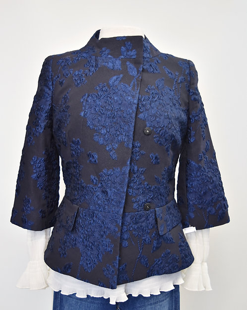 Escada Black & Blue Jacquard Jacket Size Small