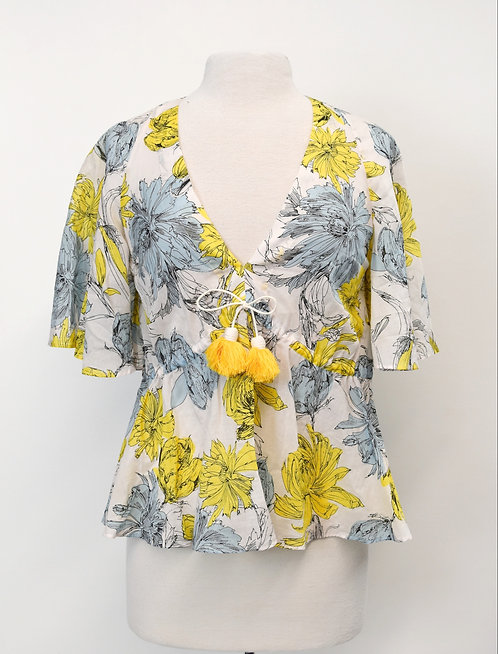 Alexis Blue & Yellow Floral Top Size Small