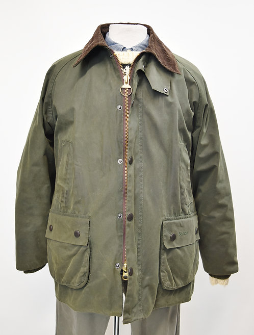Barbour Green Waxed Cotton Jacket Size Large