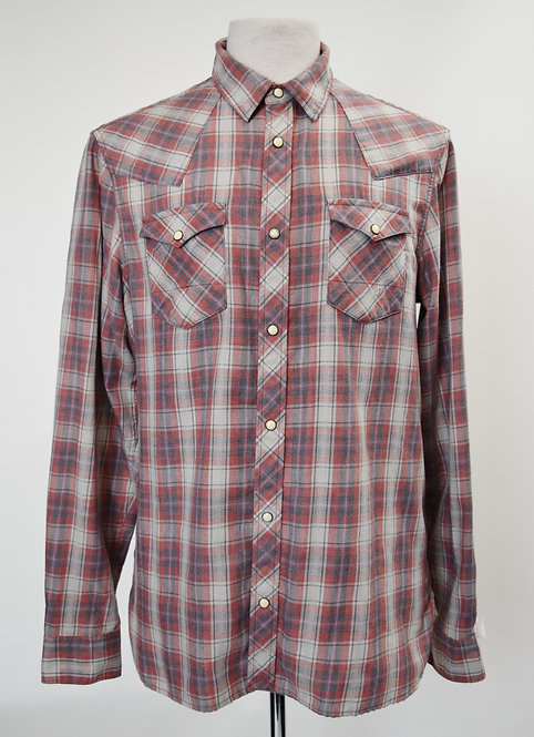 AllSaints Gray & Red Flannel Size Large