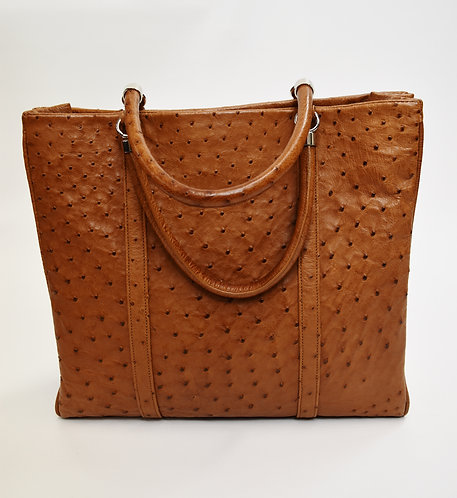 Suarez Tan Ostrich Leather Satchel