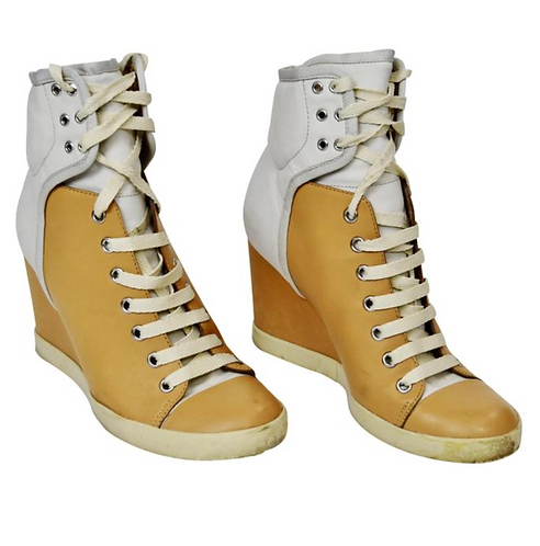 See By Chloe Tan & Gray Leather Wedge Sneakers Size 8